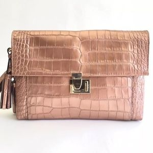 Coach Legacy Rose Gold Metallic Embossed Clutch